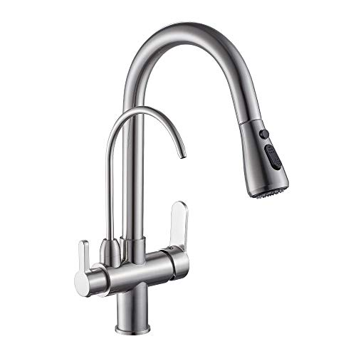 WANFAN Kitchen Sink Faucet with Pull Down Sprayer 2 Handle 3 in 1 Water Filter Purifier Faucets Brushed Nickel 0195SN
