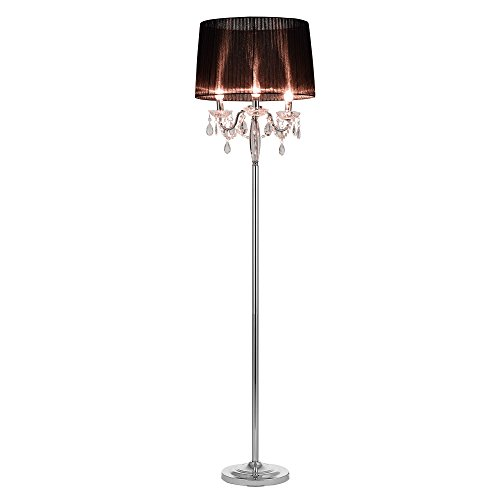 lux.pro] Lampada da Terra Lampada a Stelo 3xE14 165cm Ø45cm Base Cromata Paralume di Tessuto Nero con Cristalli Salotto Soggiorno