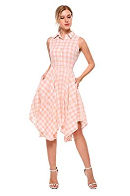 Women's Sleeveless Plaid Dress Pleated Irregular Hem Casual Shirt Dress