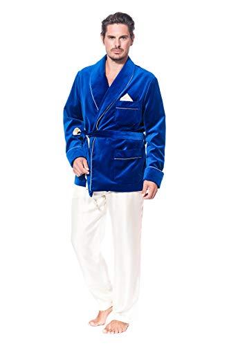 The Cocoonalist - Giacca da interno in velluto, fodera in seta, Made in Europe (Italia) blu royal S