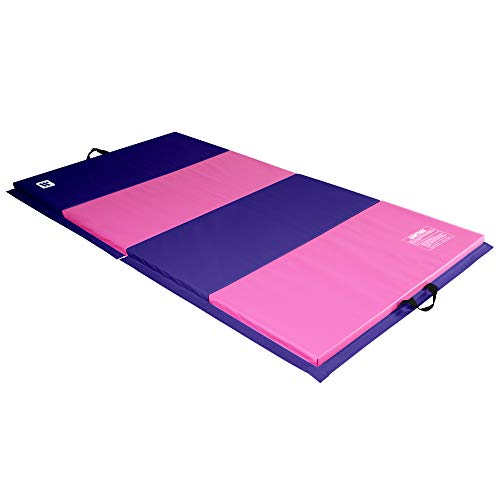 We Sell Mats 4 ft x 8 ft x 2 in Personal Fitness & Exercise Mat, Lightweight and Folds for Carrying, Purple/Pink