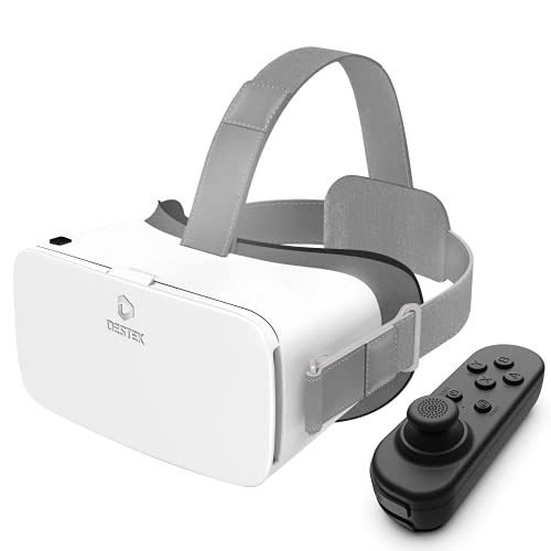 DESTEK V5 VR Headset (White), w/Bluetooth Controller 110°FOV Anti-Blue Light Eye Protected Virtual Reality Headset for iPhone 12/11/X/XR Samsung A50/S20 FE/S10, Phones w/4.7-6.8in Screen…
