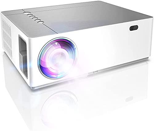 Proiettore da esterno 1080P nativo, proiettore da giardino HD da 7200 lumen, supporto trapezoidale 6D 4K, zoom indietro 50%, proiettore TV Home Cinema per iPhone, Android, Window, HDMI
