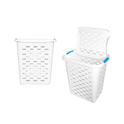 Clorox Plastic Laundry Baskets with Antimicrobial Protection, 2 Pack | Heavy Duty Hamper with Odor Control | Tall Rectangular Clothing Storage with Handles, Large (with lids), 2 Count