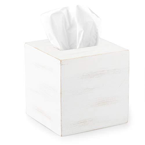 "Rustic Farmhouse Tissue Box Cover - Wooden White Square Tissue Holder Easy to Refill - 5"" x 6"""