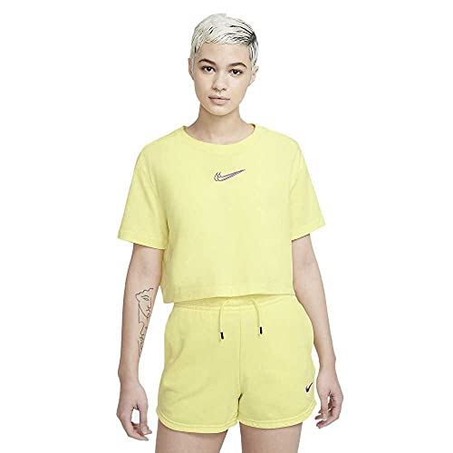 NIKE W NSW Essntl Short PRNT Pantalones Cortos, Lt Zitron, Small para Mujer