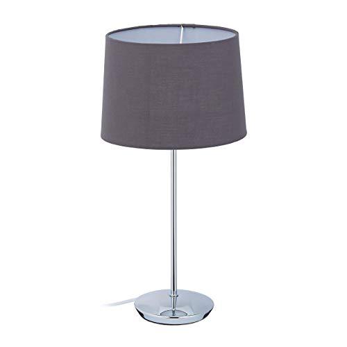 Relaxdays Lámpara de mesa con pantalla de tela, base cromada, casquillo E14, salón y dormitorio, moderna lámpara de mesita de noche, color gris