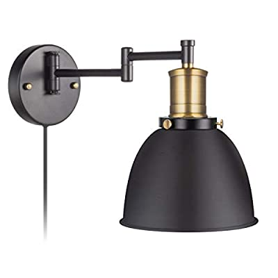 Swing Arm Wall Lamp Plug-in Cord Industrial Wall Sconce Bronze and Black Paint Finish E26 Base 1-Light