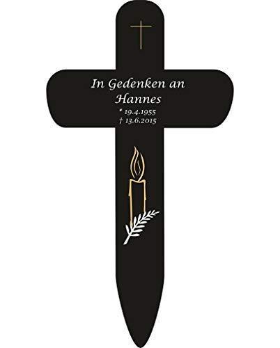 Livingstyle & Wanddesign Personalisiertes Grabkreuz mit Kerze 4 in Schwarz, klein 25 x 13,5 cm