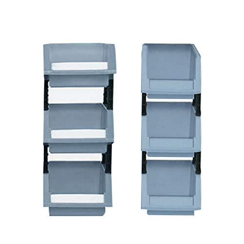 YINSONG Gavetas Apilables - Plastic Storage Stacking Bin Adecuado para Garajes/Oficinas/Fábricas, 6Pcs/Gris, X0+X2