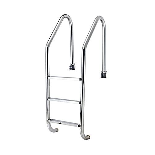 Escalera para piscina, equipo de escalera para piscina sobre suelo de acero inoxidable 304, con 3 peldaños de piscina con protección antideslizante, empotrado/silver / 50cm