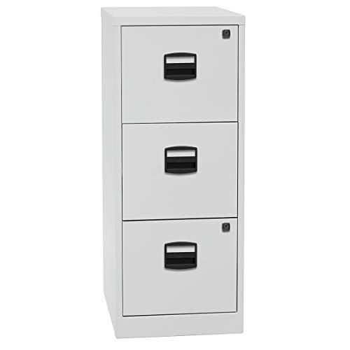Bisley Home Hängeregistraturschrank PFA, 3 HR-Schubladen, Metall, 645 Lichtgrau, 40 x 41.3 x 101.5 cm
