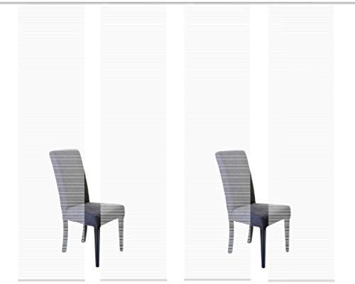 Vision S 94401 | 4er-Set Schiebegardine ROM | halb-transparenter Stoff in Bambus-Optik | 4X 260x60 cm | Farbe: (weiß)