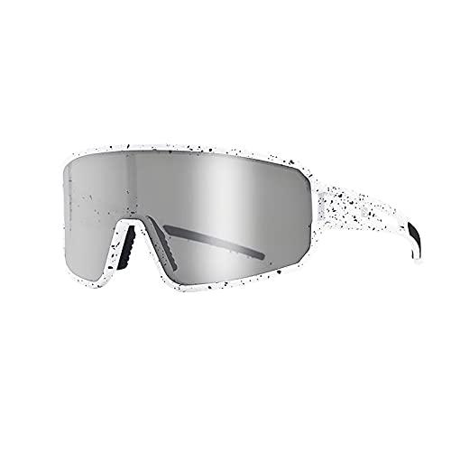 Pkommn Gafas de sol deportivas polarizadas, gafas holográficas de ciclismo inteligentes que cambian de color para mujer, hombre, gafas de conducción, ciclismo y carreras (marco blanco punto negro)