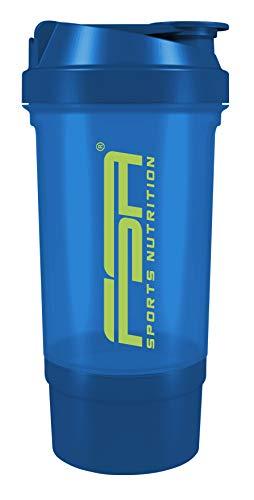 Protein Shaker mit Pulverfach für cremige Shakes mit Siebeinsatz und Behälter, BPA frei und auslaufsicher von FSA Nutrition – Blau