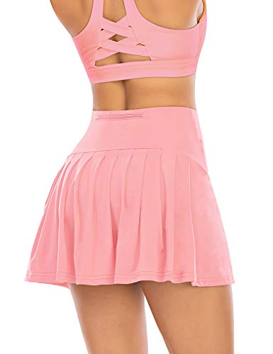 Pleated Tennis Skirts for Women with Pockets Shorts Athletic Golf Skorts Activewear Running Workout Sports Skirt (Light Pink, Small)