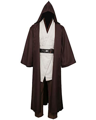 Nuwind Herren Jedi-Kostüm Mittelalter Tunika mit Kapuze, Umhang, Umhang für Halloween, Cosplay, Outfit für Erwachsene Gr. XS, braun+weiß