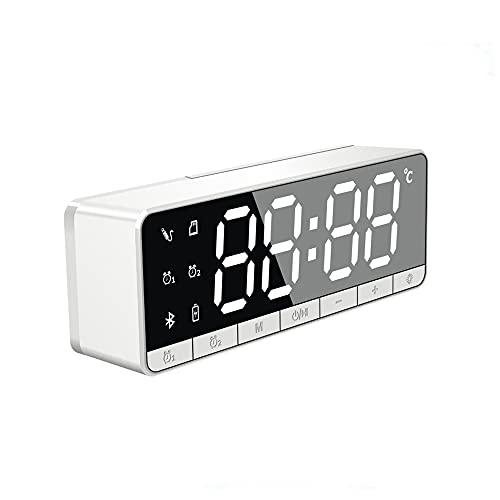 LOOCOO Mini reloj Bluetooth altavoz,Espejo de reloj,Altavoz pequeño inalámbrico de subwoofer,Adecuado para dormitorio,sala de estar,Oficina,Estudio