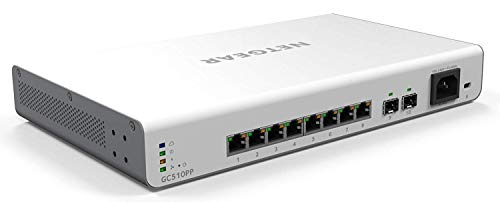 Netgear GC510PP-100EUS Insight Switch Smart Managed Cloud, 8 Porte Gigabit Poe+ (195 W), Gestione Tramite App, Accesso Remoto, Bianco