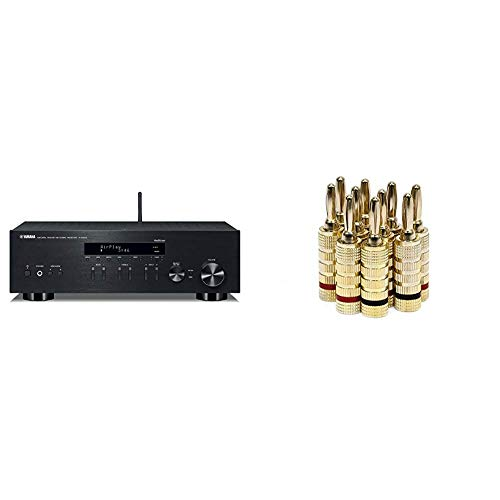 Yamaha R-N303BL Stereo Receiver with Wi-Fi Bluetooth & Phono Black, Works with Alexa & Monoprice Gold Plated Speaker Banana Plugs – 5 Pairs – Closed Screw Type, for Speaker Wire, Wall Plates and More