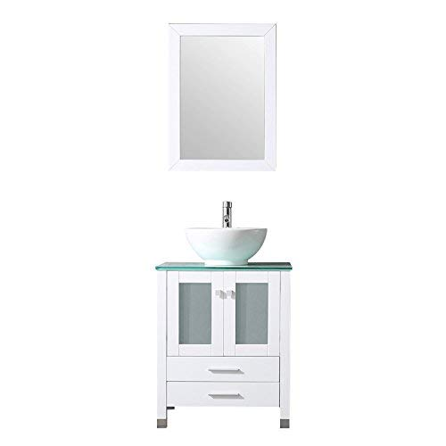 BATHJOY 24' Bathroom Vanity Wood Cabinet Ceramic Vessel...