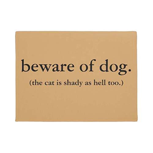 HJJQ Cuidado con el Perro el Gato también es sombrío como el Infierno Felpudo Decoración Entrada Alfombrilla Antideslizante Alfombrilla Lavable de Goma Alfombra para el hogar