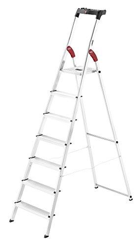 Hailo L60 StandardLine Alu-Sicherheits-Stehleiter , Leiter 7 Stufen belastbar bis 150 kg , stabile Holmführung , Stehleiter mit Ablage , klappbare Aluleiter made in Germany , Leiter rostfrei , silber