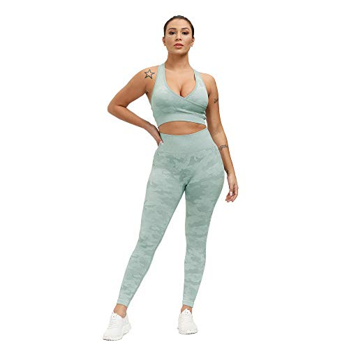 SweatyShark Women's Workout Outfit Set Active 2 Pieces Camo Seamless Yoga Leggings with Paded Adjustable Sports Bra Racer Back A Green