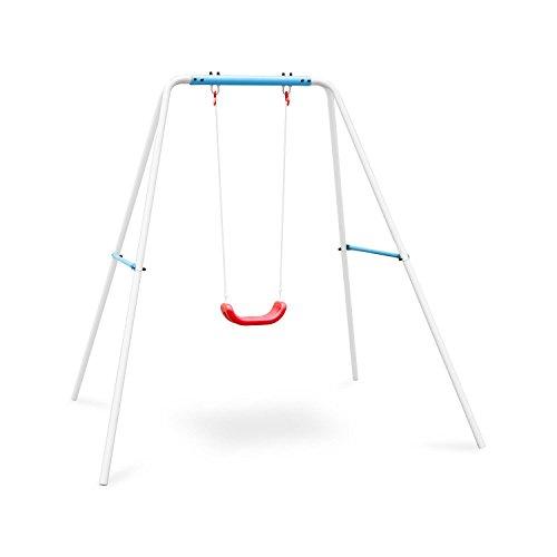 Oneconcept Miri Columpio Infantil para Exteriores (Asiento de plástico, Cuerda Alta Resistencia, Peso MAX 45kg, Estructura Acero, Apto niños 3 a 10 años, balancín Azul)