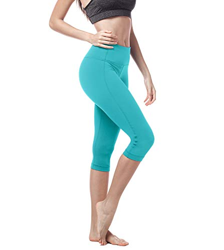 LAPASA Damen 3/4 Sport Leggings, mit Tasche, Super Opak, 3/4 Yoga Sporthose, Damen Capri kurz Training Tights L002 (Türkis, M (Taille...