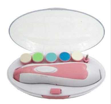 FFM STORE Baby Nagelfeile mit LED ohne schmerzen mit 6 Ersatz Schleifköpfen, Baby Nail Trimmer, für Babys und Erwachsene / (AA Batterien NICHT ink.). (Pink)