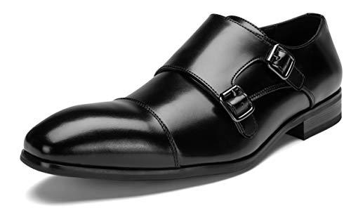 [神戸リベラル] シワになりにくい スプリットレザー 革靴 ビジネスシューズ モンク ストラップ メンズ 紳士靴 LB301 (28.0cm)