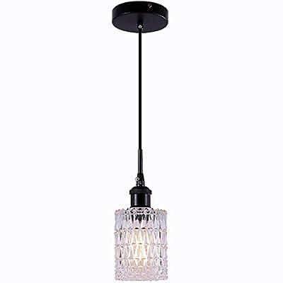 TLOLGT Industrial Indoor Hanging Pendant Lighting ,Black Pendant Light with Decorative Pattern Glass Shade for Restaurant, Living Room, Bedroom