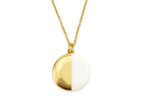 lille mus Halskette mit Porzellan-Anhänger Halbkreis - Weiß/Gold Porzellanschmuck Kette