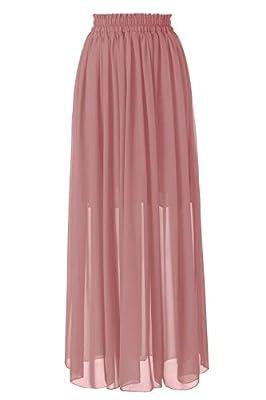 Topdress Women's Floor Length Beach Skirt Floral Print Chiffon Maxi Skirts Blush Pink M New