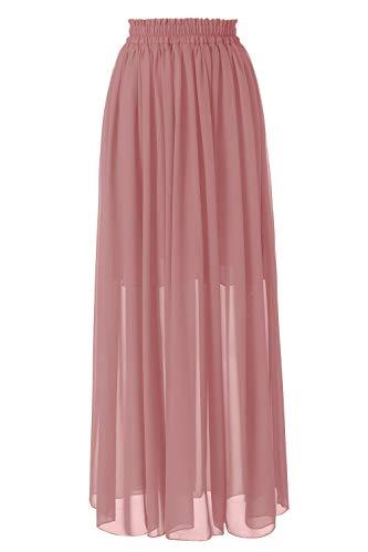 Topdress Women's Floor Length Beach Skirt Floral Print Chiffon Maxi Skirts Blush Pink 3XL