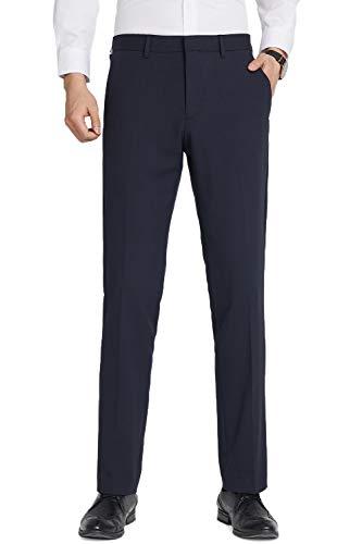 TALITARE Herren Anzughose Slim Fit, Stretch Schwarz Business Straight Leg Casual Sommer Smoking,Marine Blau,34W x 32L