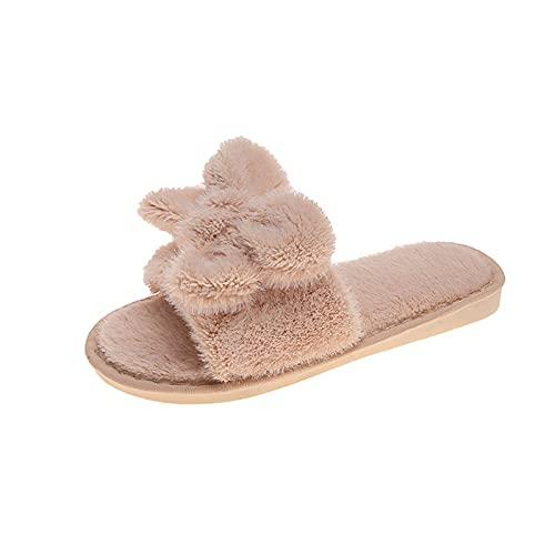 URIBAKY - Pantuflas informales para mujer, de algodón con nudo caliente, espuma con memoria y suela antideslizante, para interior y exterior, beige, 39 EU