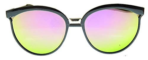 Lovelegis Gafas de sol para mujer - espejo - gato - deportes - niña - vintage - retro - moda - polarizado - uv400 - montura negra - lente rosa