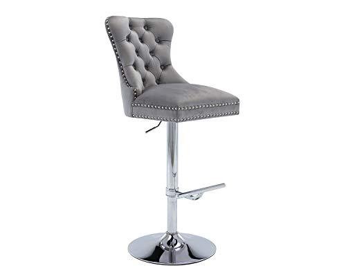 Kmax Adjustable Barstool Velvet Upholstered Swivel High Bar Stool Chair with Back Modern Counter Stool for Home Kitchen Bar, Gray