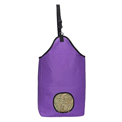 Bolsa de almacenamiento de heno para hierba de caballo, bolsa de heno Oxford, bolsa de alimentación lenta para caballos, cabras, alpacas (morado)