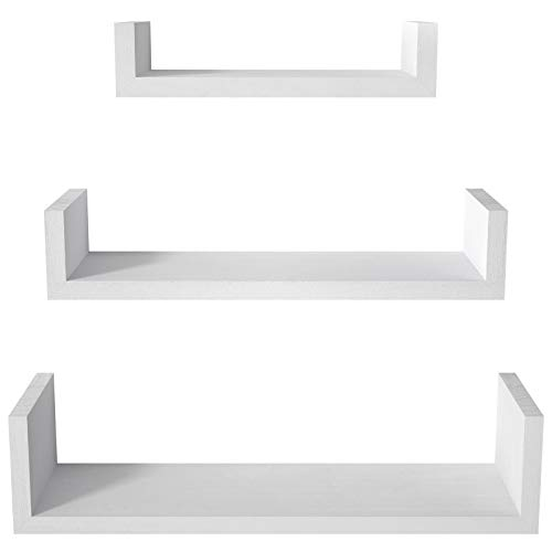 SRIWATANA Floating Shelves Wall Mounted, Solid Wood Wall Shelves, Washed White