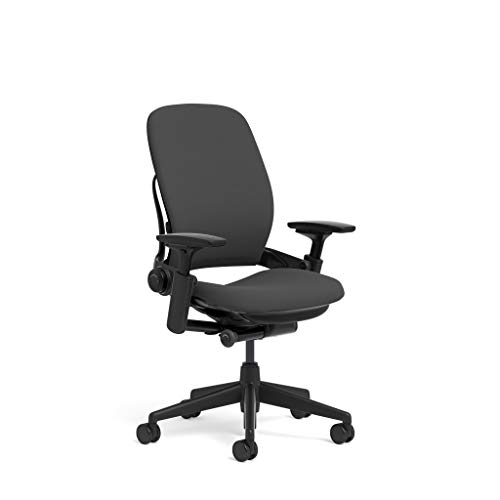 Steelcase Leap Task Chair: Black Base - 4D Adjustable Arms - No Headrest - Standard Carpet Casters (Renewed)