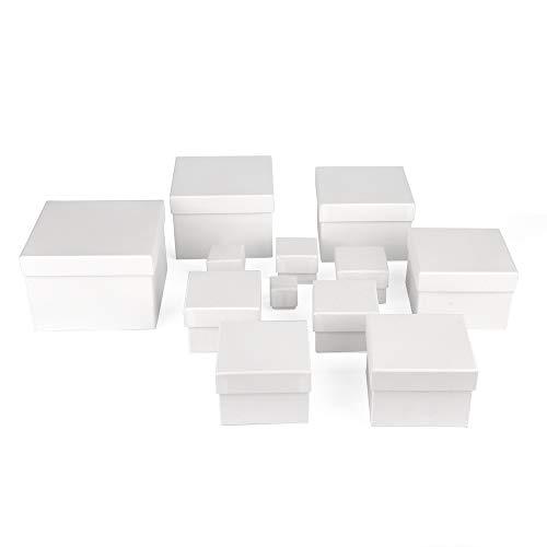 ewtshop® Geschenkboxen, weiß, 12er Set, stabiles Material mit feinem weißem Kraftpapier überzogen, Kraftpapierboxen, auch für Scrapbooking