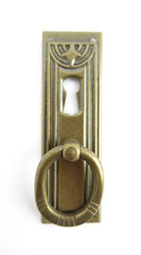 Beschlag Messing Griffbeschlag Schrankgriff Schrank Schublade Schranktür Messing senkrecht mit Griff brüniert Gründerzeit Jugendstil Art Deco