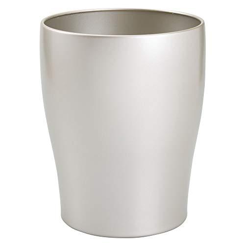 mDesign Cubo de basura – Cubo redondo de metal para toda la casa – También como papelera de oficina – Cubos de reciclaje – plateado mate
