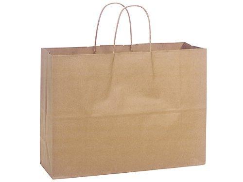 "ABC Kraft Paper Shopping Bag Vogue, 16 x 6 x 12 1/2"", Natural Brown - 250 Bags"