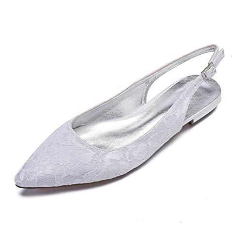 MGEM Bailarinas Planos Elegante Satén de Encaje Punta Puntiaguda Zapatos de Novia...