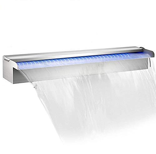 """Patiolife Pool Fountain Stainless Steel Pool Waterfall 35.4"""" x 4.5"""" x 3.1""""(W x D x H) with LED Strip Light Waterfall Spillway with Pipe Connector Rectangular Garden Outdoor"""