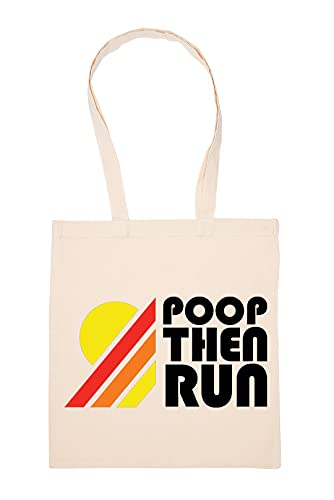 Poop Then Run Running Sport Bolsa De Compras Beige Durable Reutilizable Eco Friendly Reusable Shopping Bag